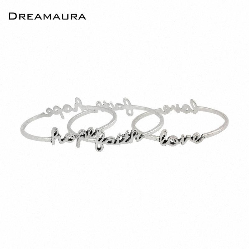 Dreamaura 2020 New Arrivals Antique Silver Plating Love Hope Word Bangles Set For Women ZXNt#