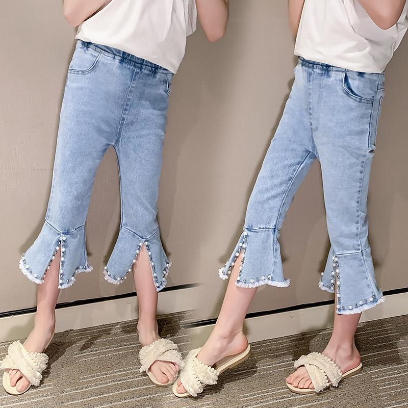 Girlsjeans 2020 nouveaux pantalons pour enfants de style coréen mode été de Bell jeansjeans et jeansjeans girlsbeaded pantalon évasé sept points