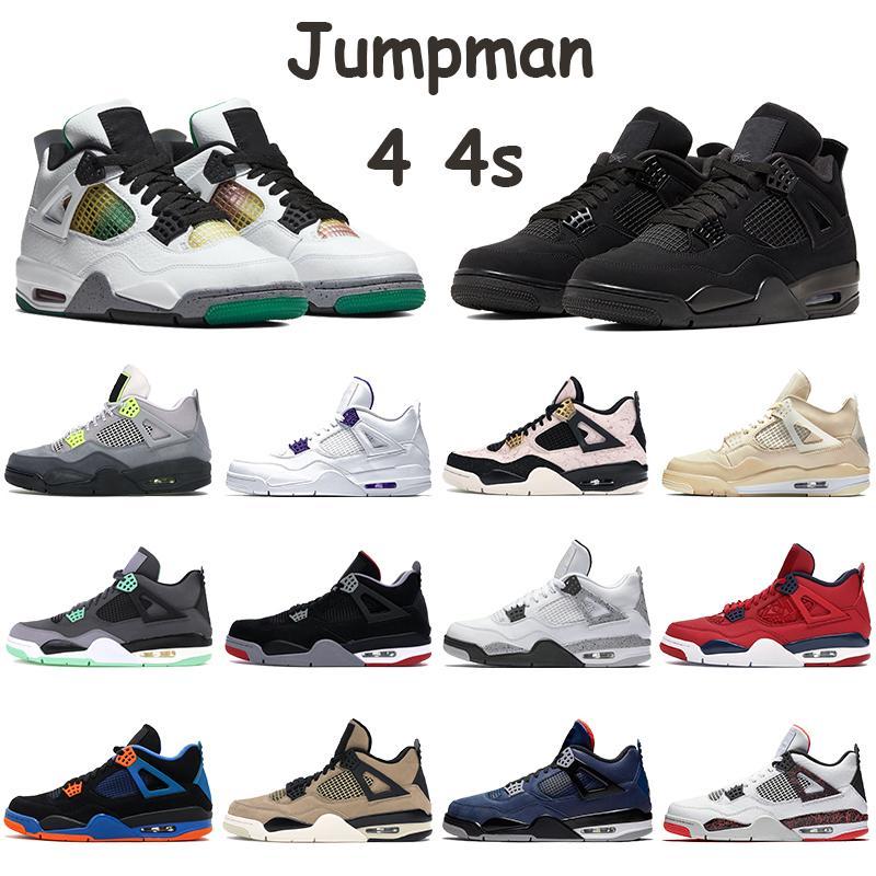 New Jumpman 4 4S Shoes Men Basketball Sneakers Black Cat 2020 SE Neon Rasta Metallic roxo Bred cimento branco Esportes formadores com Keychain