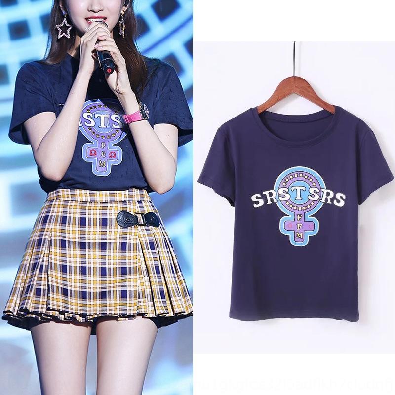 f8Xyd Осень Top New Star Гуань Xiaotong же напечатаны все соответствующие женщин с короткими рукавами Осень T-shirtTop футболка New Star Гуань Xiaotong же р