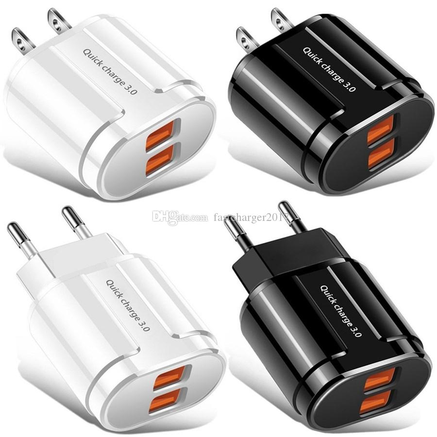 듀얼 포트 5V 3.1A EU 미국 벽 충전기 1USB QC3.0 벽 충전기 어댑터 삼성 S8 S9 S10 아이폰 안드로이드 전화 PC