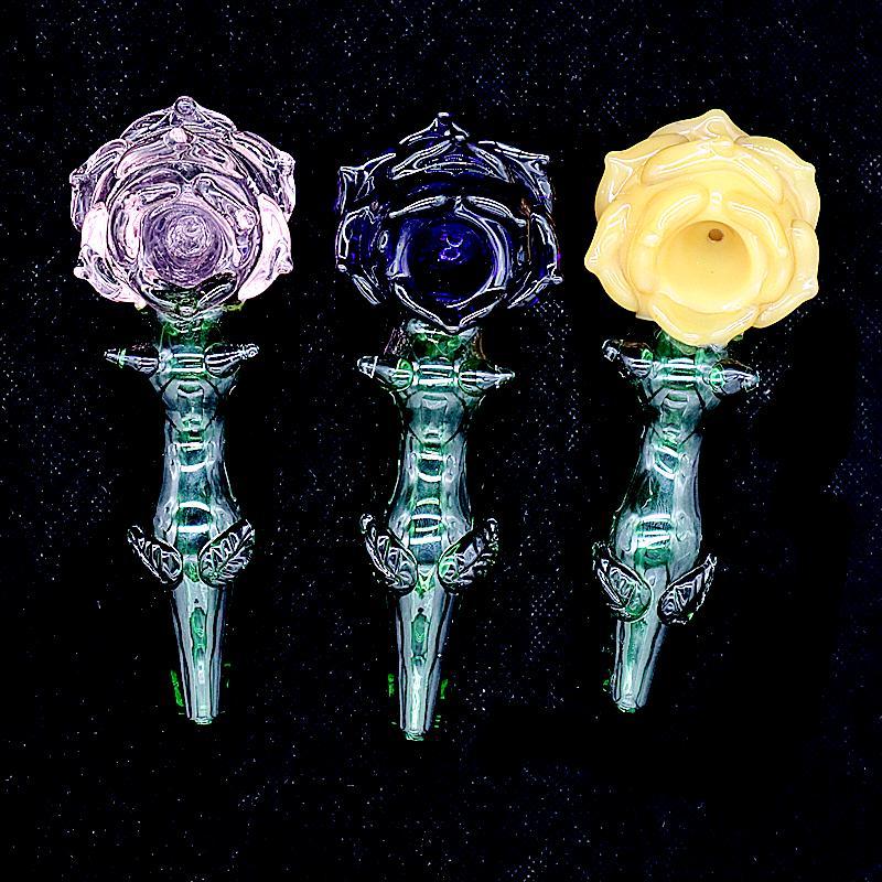 Schöne Rosenform farbige Glasrauchhandrohre für trockenes Kraut