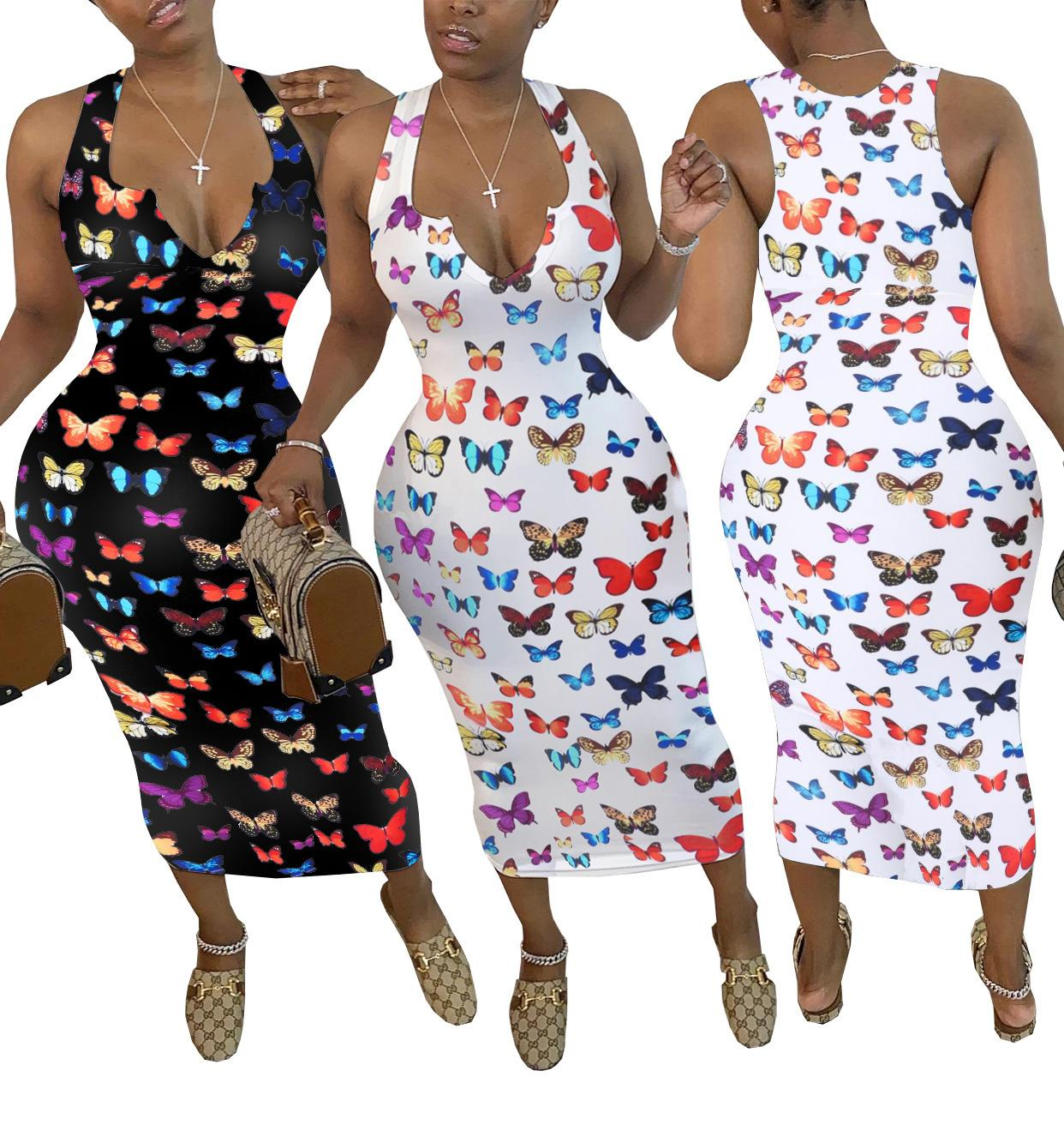 Hot butterfly print women dresses Sexy V-neck butterfly print dress Fashion long dress summer home clothes S-XXL