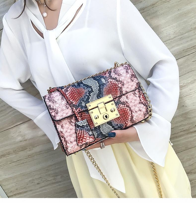 2019 novos serpentina ocasional ombro quadrado cadeia saco pequeno quadrado coreano moda pequena all-jogo bolsa de ombro mensageiro das mulheres