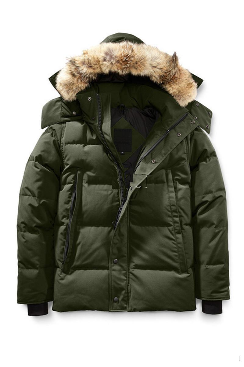 Parka d'hiver en duvet pour hommes Jassen Chaquetas Jacket Manteau en cuir à capuz en fourrure de loup Wyndham Canadá Down Jacket
