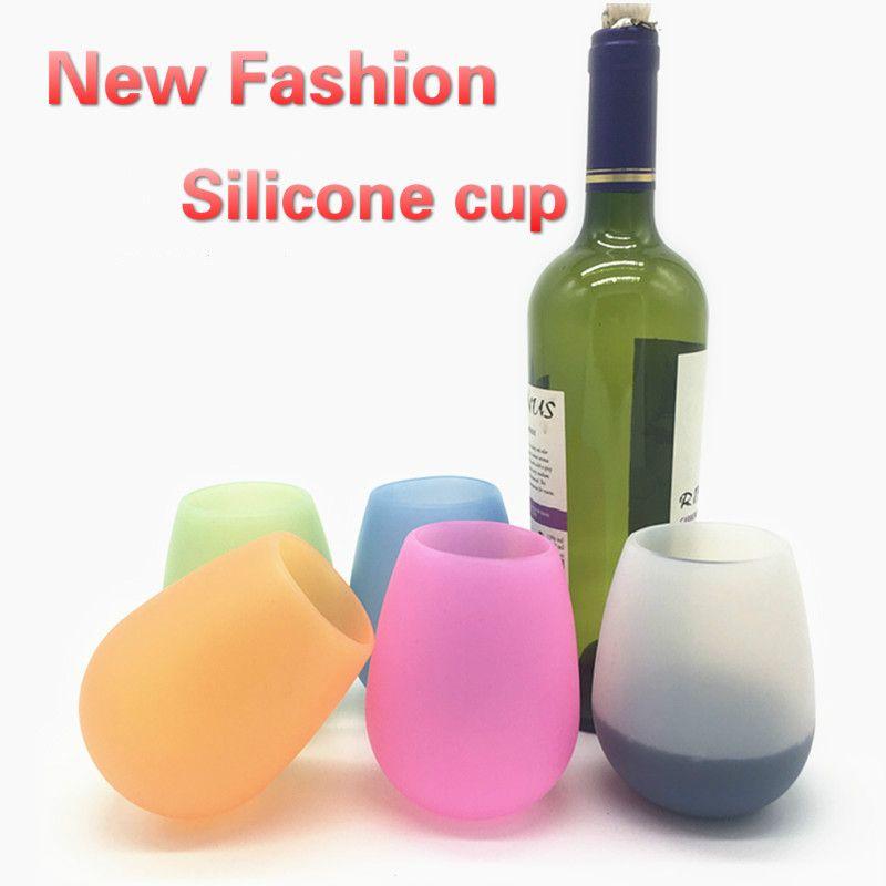 10 Unzen Silikon Tasse Unbreakable Rotweinbecher Weinglas Barbecue Camping portable Tassen 300ml 6 Farben geben Verschiffen
