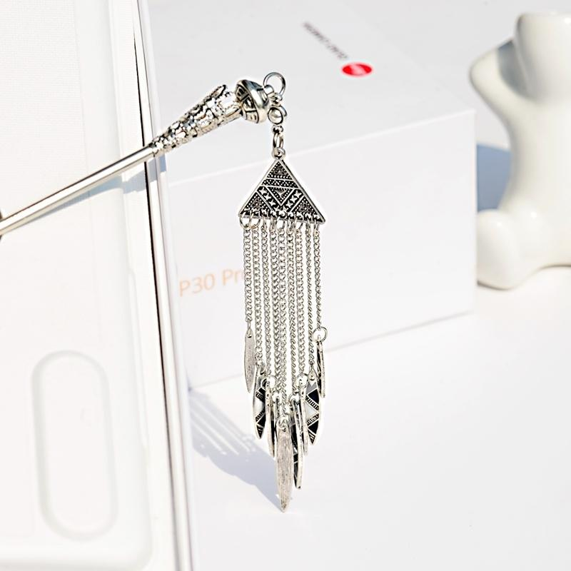 2019 Women's Geometric Alloy Long Chain Tassel Dangle Sticks Chinese Style Vintage Triangle Sliver Color Hair Pins Headwear