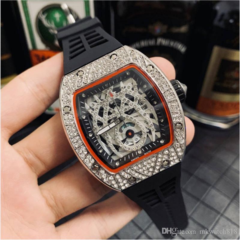 HOT Diamonds Роскошная Бочка Часы женщин Мужские Причинная водонепроницаемые часы Большой циферблат стальной корпус резиновый ремешок Спортивные часы
