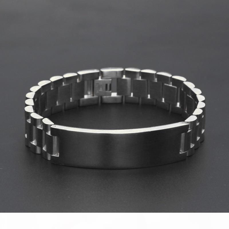 Chapado en oro pulsera de reloj de Nueva Hombres de acero inoxidable Enlaces Manguito de Hip Hop de los brazaletes joyas para hombres regalo