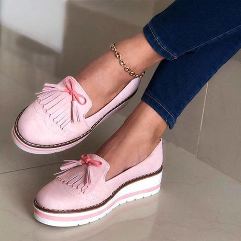 Spor ayakkabılar Bayanlar Yumuşak PU Deri Dikiş Düz Platformu Kadın Ayakkabı All Seasons 2020 Yeni CX200720 On Kadınlar Püskül Papyon Loafers Kadın Kayma