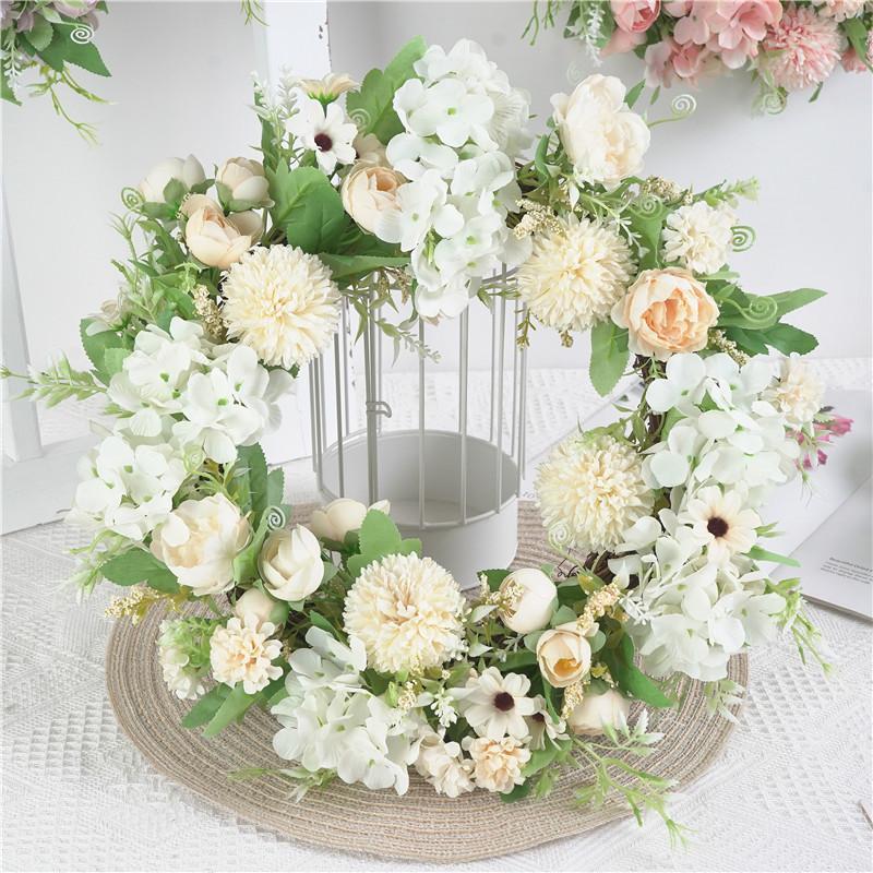 """Yapay Şakayık Çiçek Çelenk 15 """"Ipek Çiçek Kapı Çelenk ile Yeşil İzni Bahar Ön Kapı Düğün Duvar Ev Dekor Için"""