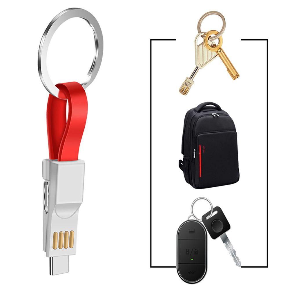 الكل في واحد 10CM البسيطة USB كيبل الهاتف المحمول الشحن البيانات والبرقيات نوع C / مايكرو USB / سلسلة المفاتيح المغناطيس كابل بيانات المغناطيسي