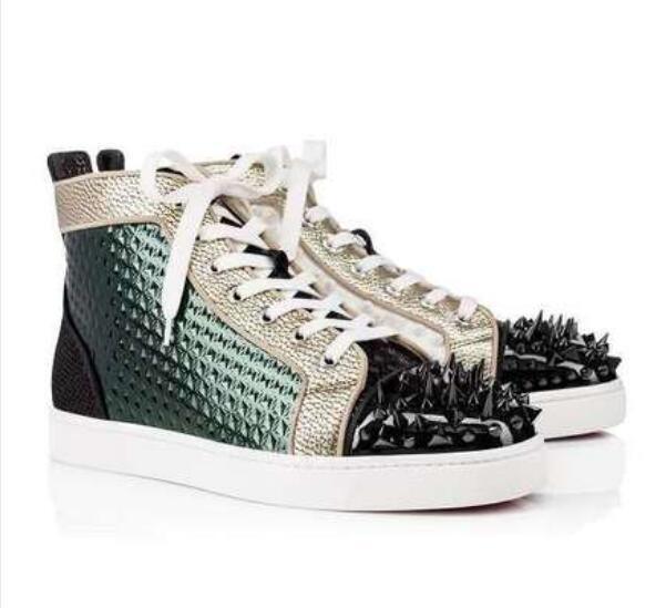 Multicolorido Louflat Pik pik Leather Sneakers Red Bottom, lll Walking Moda cravado sapatilha alta-top Trainers partido de Mulheres Design Homens