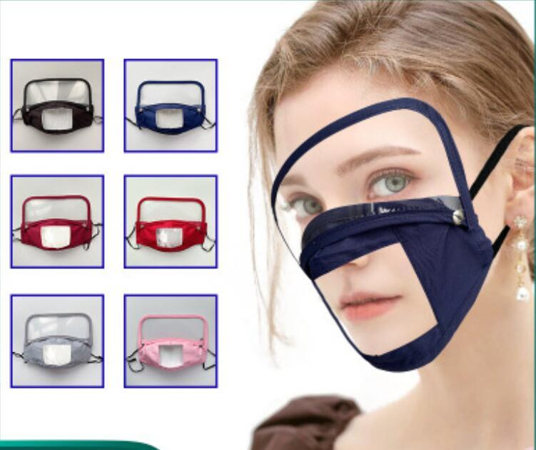 Detachable Face Mask Lip Language Camouflage Anti Dust Fog Masks Deaf Reading Mouth Clear Window Cover Adjustable Washable Reusable FY9150