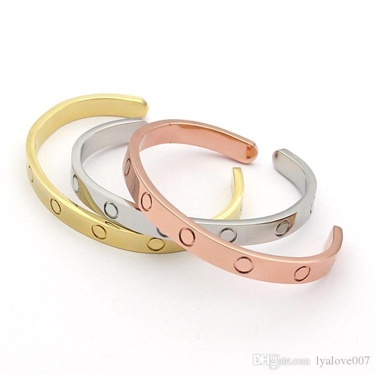 Hochwertige Liebe Armbänder Screw-Geschenk für Lovers' Stainlese Stahl Rose Gold überzogene Schmucksache-Handgelenk-Armband Liebe Armreif für Frauen Männer