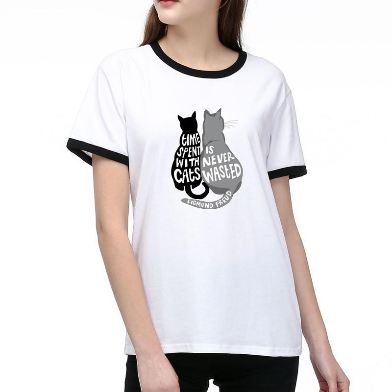 Kadınlar Tasarımcı T Shirt Yaz Moda Lady Tees Nefes Kısa Kollu Kediler Desen Baskılı Tişörtler Gömlek İyi Kalite Pamuk Blend Tops