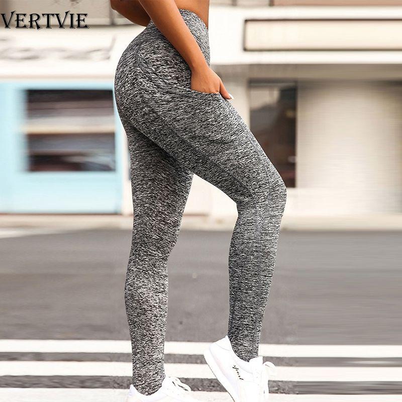 VERTVIE Siyah Seksi Kadınlar Yoga Spor Tozluklar Telefon Cep Fitnes Sıkı Spor Salonu Tozluklar İnce Yoga Pant Pantolon Koşu