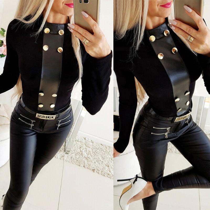 Warme schwarze Bluse Hemden Elegante PU-Leder Womens Tops Blusen Button Frauen Tops Sexy Hemden Langarm Frauen Kleidung Blusa