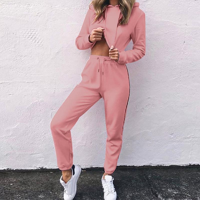 осенние женские S спортивные костюмы розовый йога костюм Мода Женщины с длинным рукавом бинты нашивки сращивания с капюшоном Топы Брюки Установить # g4