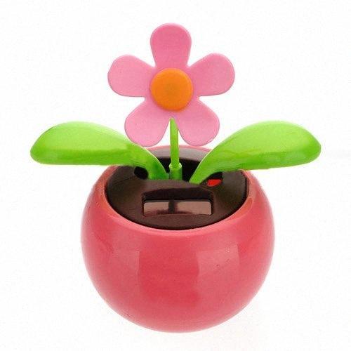 La aleta de tirón accionado solar de maceta de la flor Swing juguete de la novedad principal adorno de rosa WYNZ #