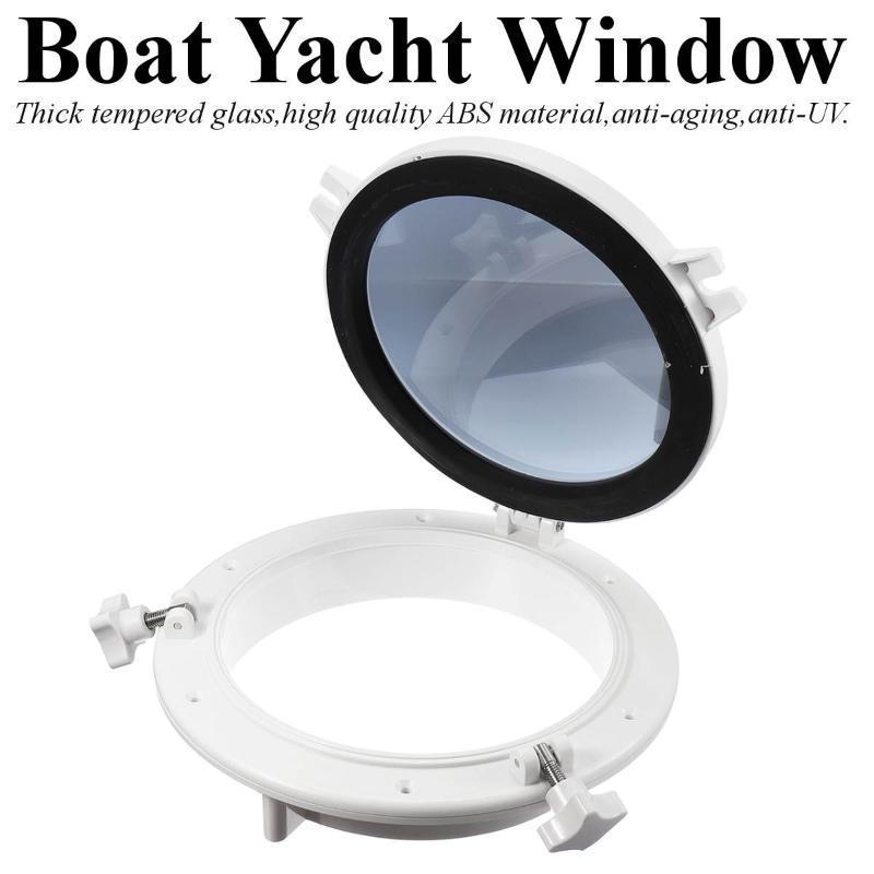 26,5 centimetri / 10.4inch bianco camper auto barca Yacht finestra di figura rotonda di apertura sostituzione Portlight Hatch auto Oblò ABS durevole