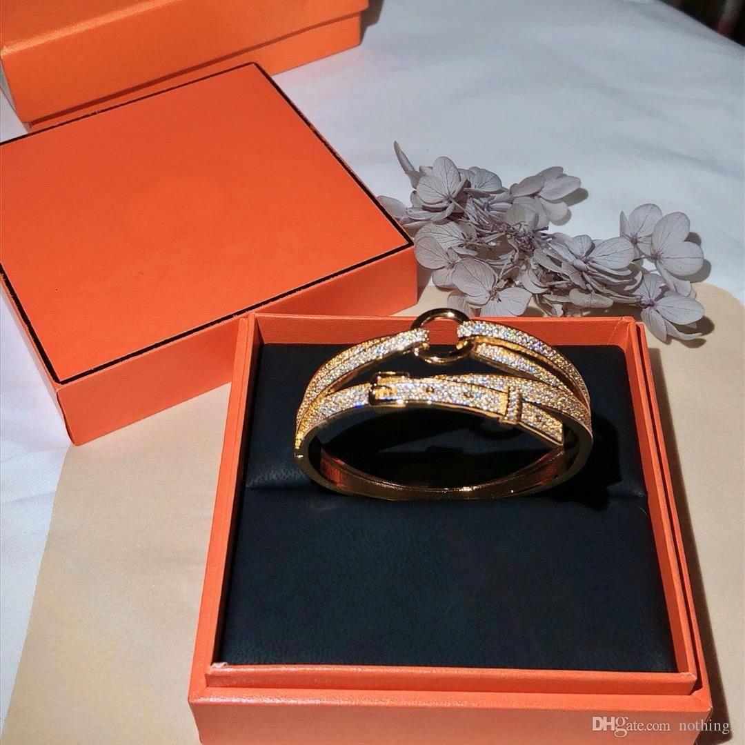 Designer de luxo multi-camada de pulseira de 925 pulseira de prata para os homens e mulheres de Luxo brilhando jóias do presente de casamento