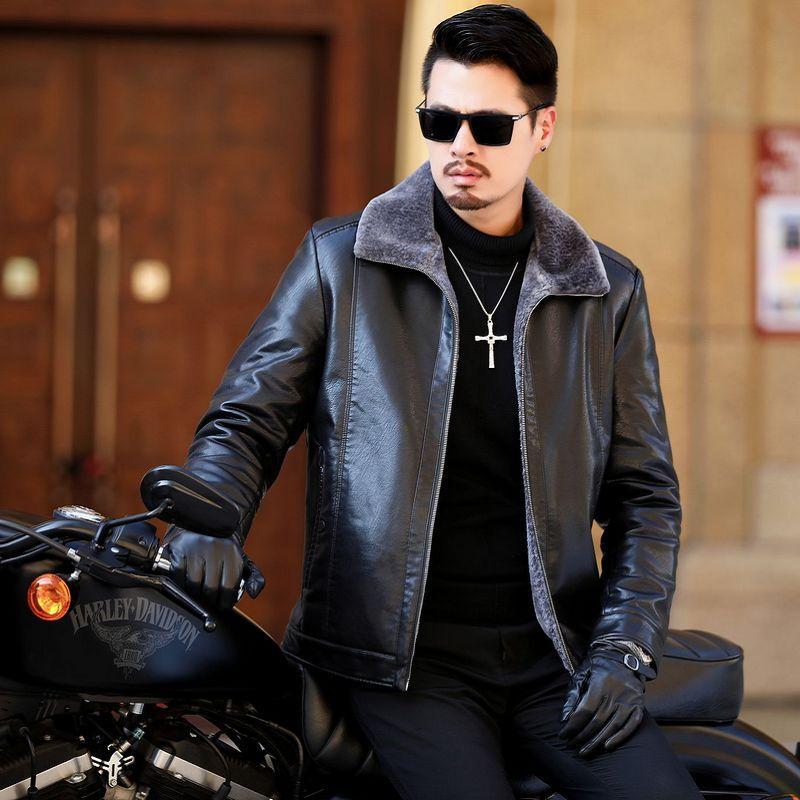 Giacca 2020 Leather Jacket Uomo Inverno Uomo Abbigliamento taglie forti uomo giacche e cappotti casual nero 5XL Hombre 1083 Pph787