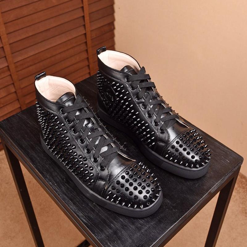 Yüksek üst Mens Perçin ayakkabı listeleme 2020 Yeni, En kaliteli Moda Lüks rahat spor ayakkabıları Mens yüksek üst 38-46 0084 Günlük Ayakkabılar boyutunu Mens