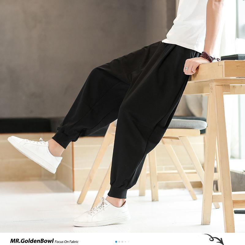 MrGoldenBowl Chinese Style Black Vintage Loose Men's Harem Pants Oversize Summer 2020 Pants Man Thin Ankle-length Male New