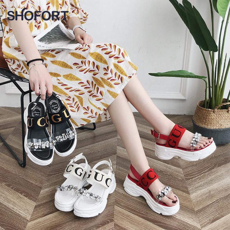 SHOFORT Wedges für Frauen-Plattform 2020 Cool Summer Thick-soled Schuhe Wild Beach Sandalen Schuhe De Mujer T200730
