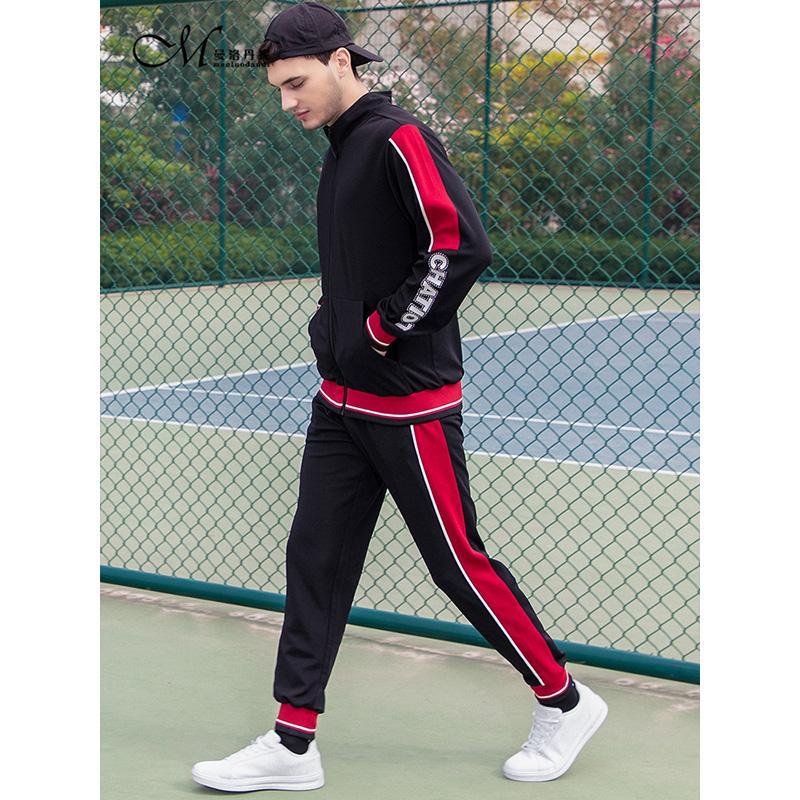 Uomini Set nuovo modo manica lunga con cappuccio Felpe + Pants Palestre esterna Set maschio vestito della tuta Uomo Casual Sportswear Suit