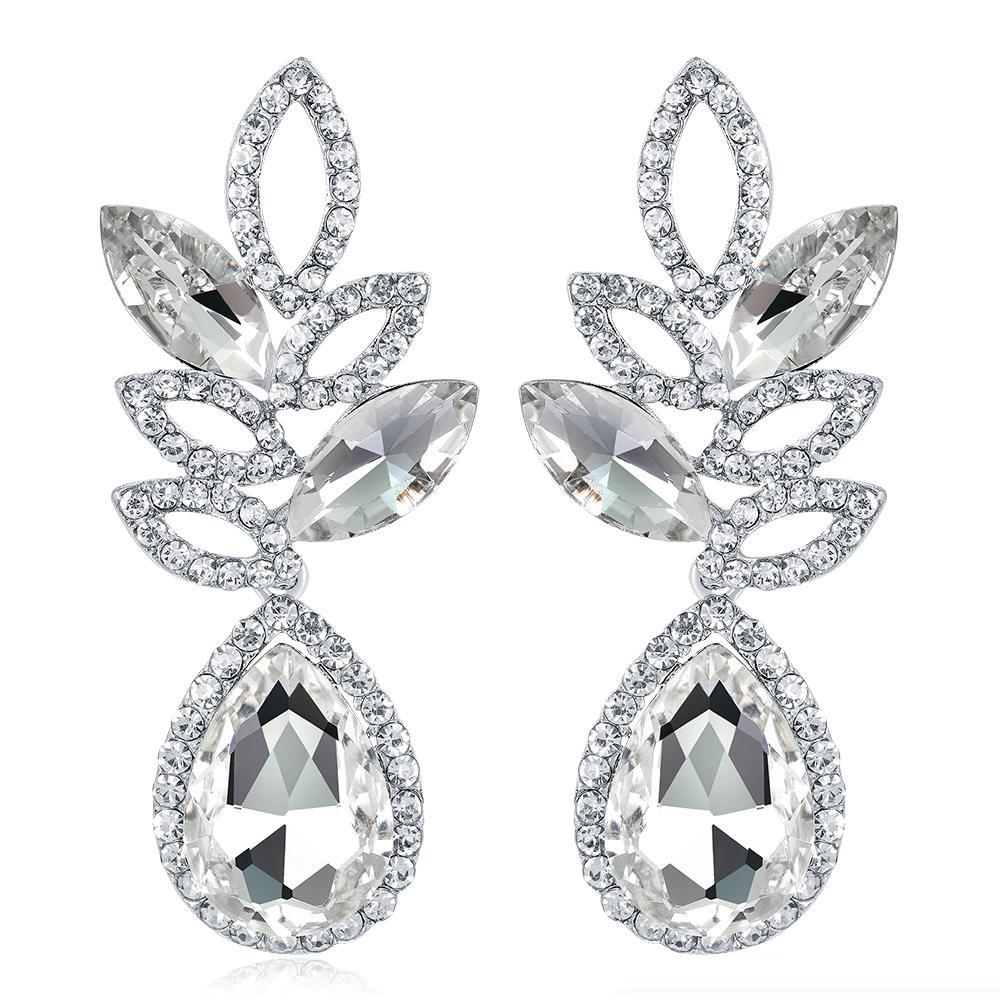 Brillant Cristaux de mode Boucles d'oreilles strass Boucles d'oreilles longues pour les femmes bijoux de mariée cadeau pour demoiselles d'honneur BW-025