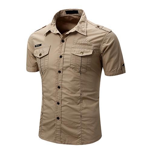 Camisa de trabajo de carga táctica para hombre Casual Slim Fit Camisetas de manga corta de verano Camisas de moda de algodón botán abajo
