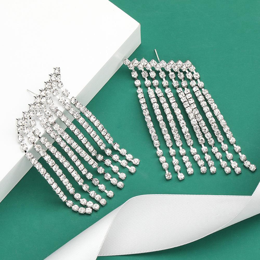 Mode créatif boucles d'oreilles pompon diamant strass parallélogramme femme super boucles d'oreilles de banquet de fées vente chaude