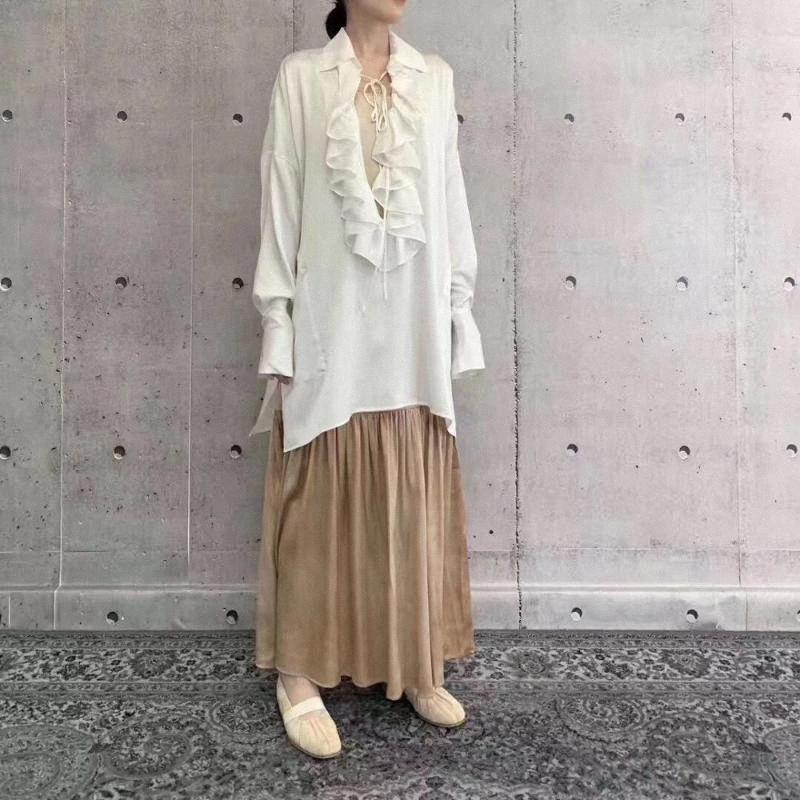 2020 2020 Bahar Moda Kadınlar Ruffles Uzun Gömlek Bluz Bayan Casual Gevşek Gömlek Bluz Gdnz 2.26 Ggei #