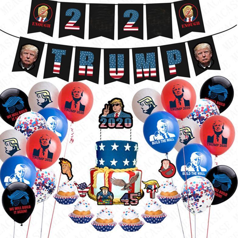 24pcs/lot Donald Trump 2020 Flag Latex Confetti Balloons Set Trumpet Pull Flag Sting + Cake Card US President Vote AccessriesD72202