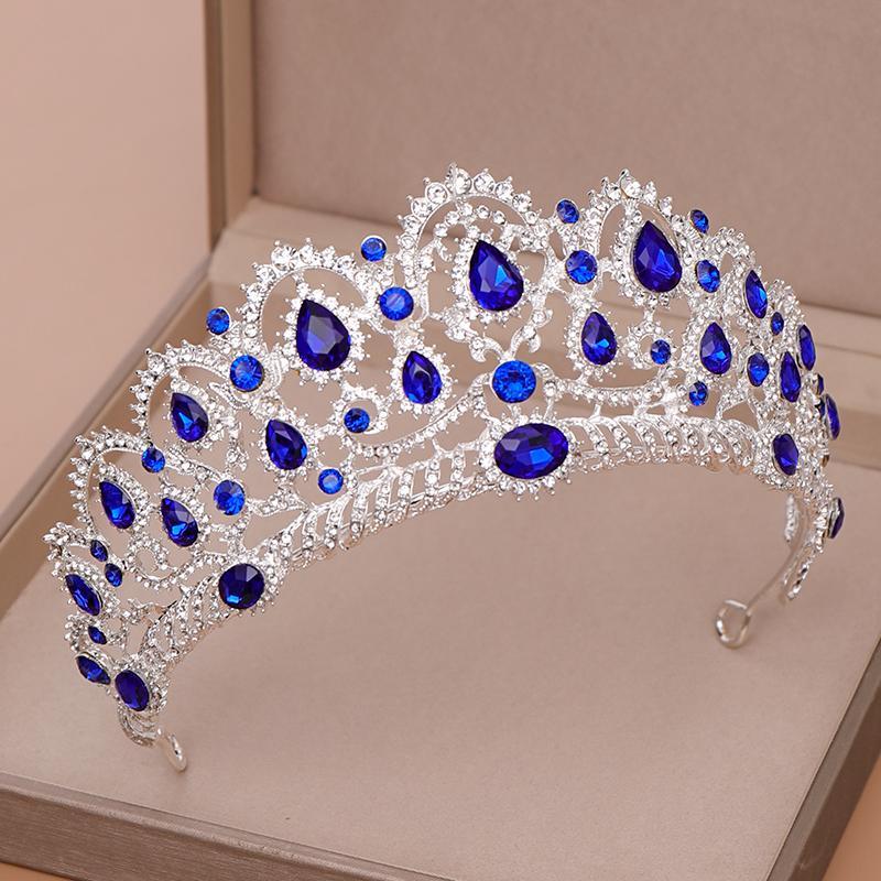 AiliBride Couronne Reine tiare Accessoires Blue Crystal strass diadèmes et couronnes pour mariée mariage bijoux cheveux MX200720