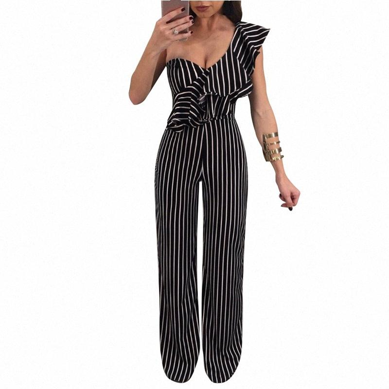 Listrado Sem Costas Ruffles Macacões um ombro Casual Sexy mulheres soltas calças perna larga verão longo S-XL ilstile 2018 Moda Zuwi #