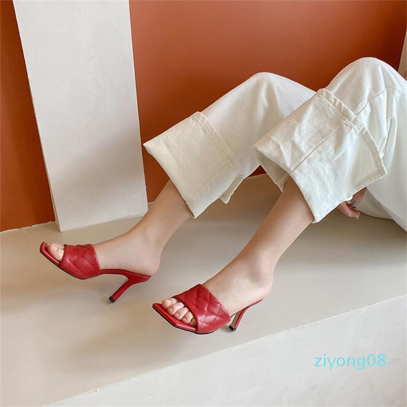 ISNOM cuero auténtico Zapatillas Mujeres Diapositivas fina de los altos talones del dedo del pie cuadrado de la mujer Nueva señoras de mulas Moda Mujer Zapatos Z08
