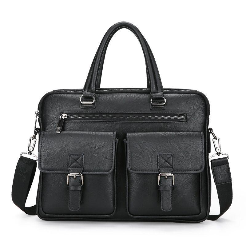 حقيبة كمبيوتر محمول حقيبة الأعمال حقائب الكمبيوتر المحمولة سستة الكتف محمول حقيبة الكتف الأسود للماء مكتب المحمولة حقيبة WJJ