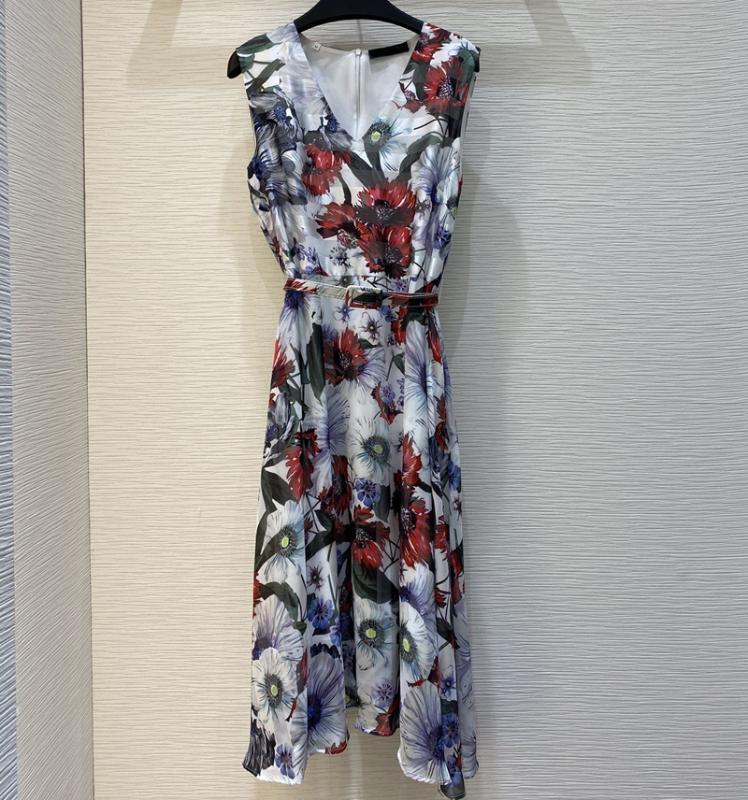 Qualitätsfrauen Runway Blumen gedruckt V-Ausschnitt Gürtel Knielänge Kleider 2020 Sommer sleeveless elegante Designer-Tank-Kleid S166