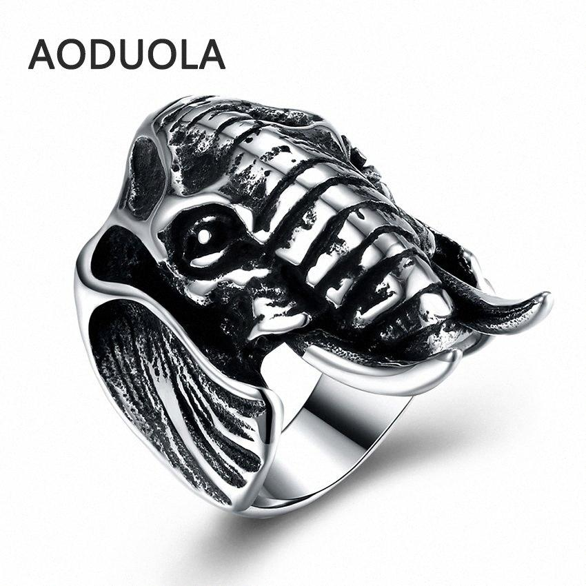 Stainless Steel Ring Animal Elephant Punk Big Size rings Vintage Biker Large Antique Men's Rings For Seal men Rock mens Jewelry oUmI#
