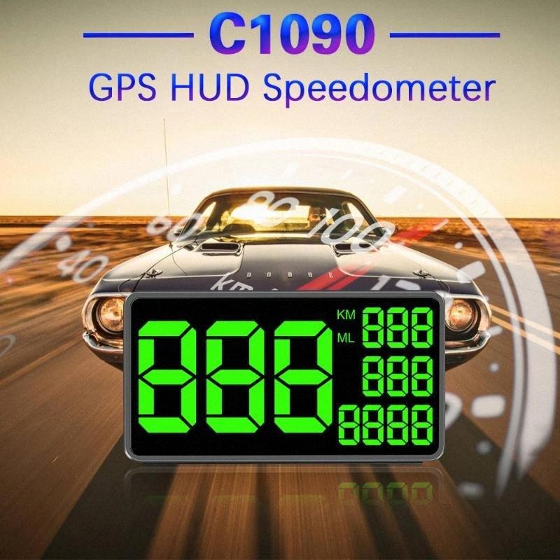 Miglior GPS HUD Tachimetro C1090 Head-up Display Il Driving Speed colore verde Velocità di visualizzazione Chilometraggio totale dopo auto si ferma JvpM #