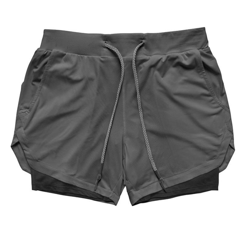 Männer Yoga Ausbildung Quick Dry Laufhose 2 in 1 Sport Jogging Fitness Shorts (Schwarz, Grau, M)
