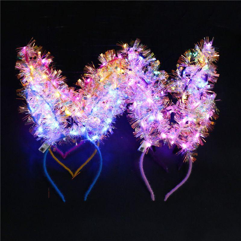 LED Leucht Kaninchen-Ohr-Haar-Stöcke Mädchen Flashing Feder-Kopfschmuck-Haar-Band-Spielzeug-Kaninchen-Häschen-Ohren Stirnband-Geburtstags-Party-Haar-Bänder IN