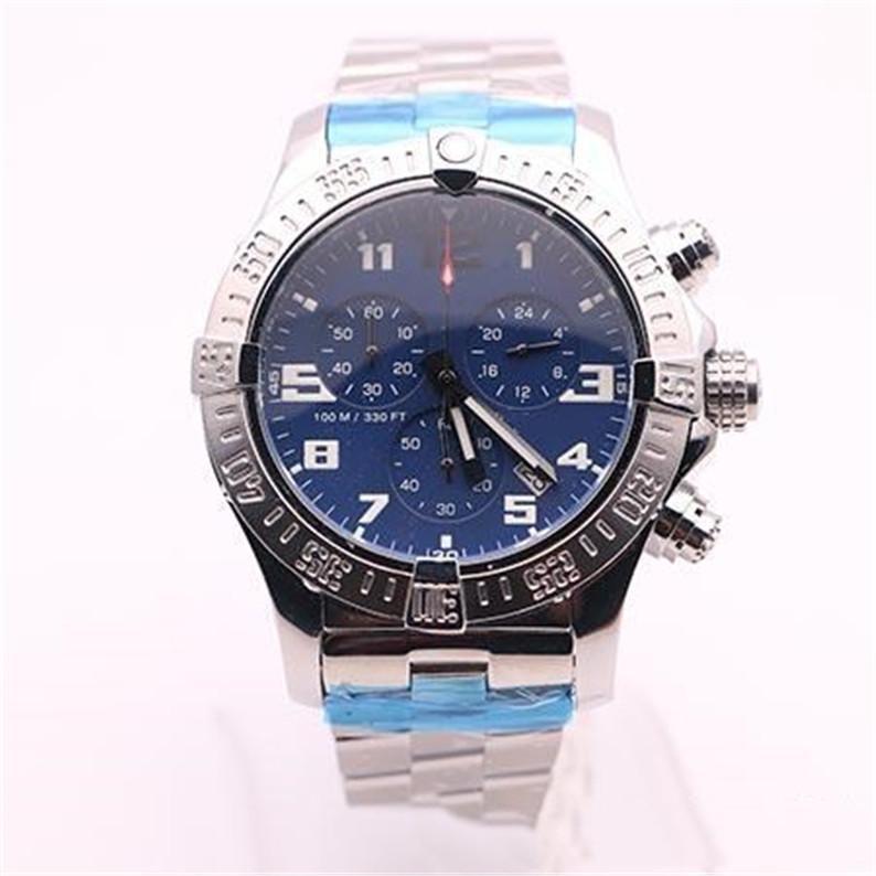 caldo vendita Top Store jason007 guarda gli uomini quadrante nero Guarda SS vendicatore di Seawolf cronografo al quarzo orologio sportivo batteria uomini vestono orologi