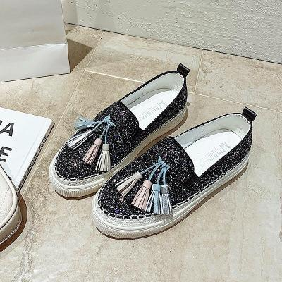 2020 spring and autumn new large size flat bottom tassel rhinestone wear-resistant bottom casual flat shoes women