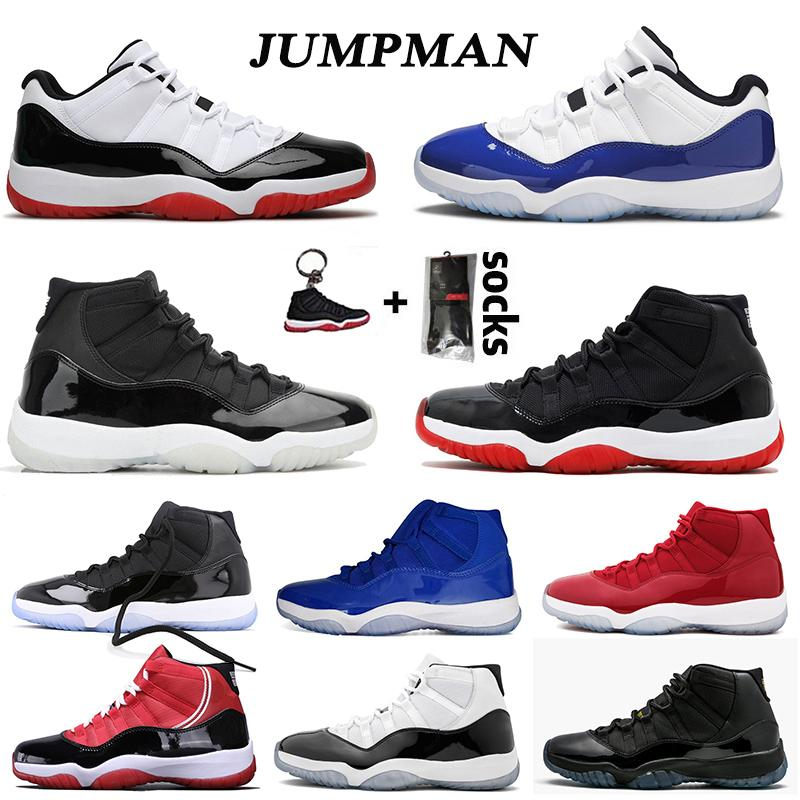 25th Anniversary 11 11s low Concord Bred HIGH Space Jam Mens Womens Basketball Shoes Cap and Gown Gamma Blue Jumpman 23 Sneakers Trainers