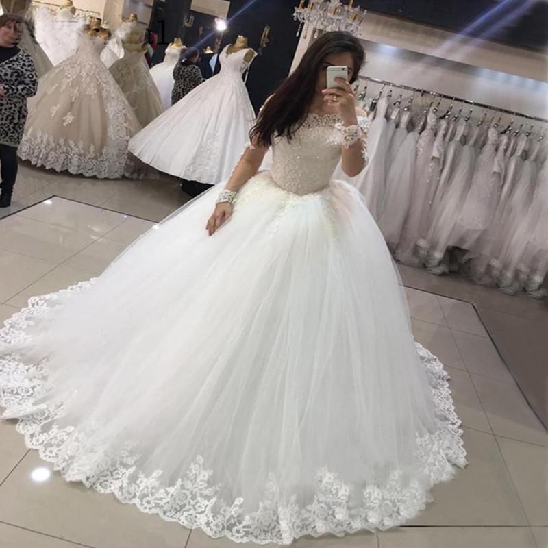 Herrliche Dubai mit langen Ärmeln Brautkleider New Perlen Applikationen Puffy Tulle-Ballkleid-Brautkleid-Robe De Mariee Prinzessin B92