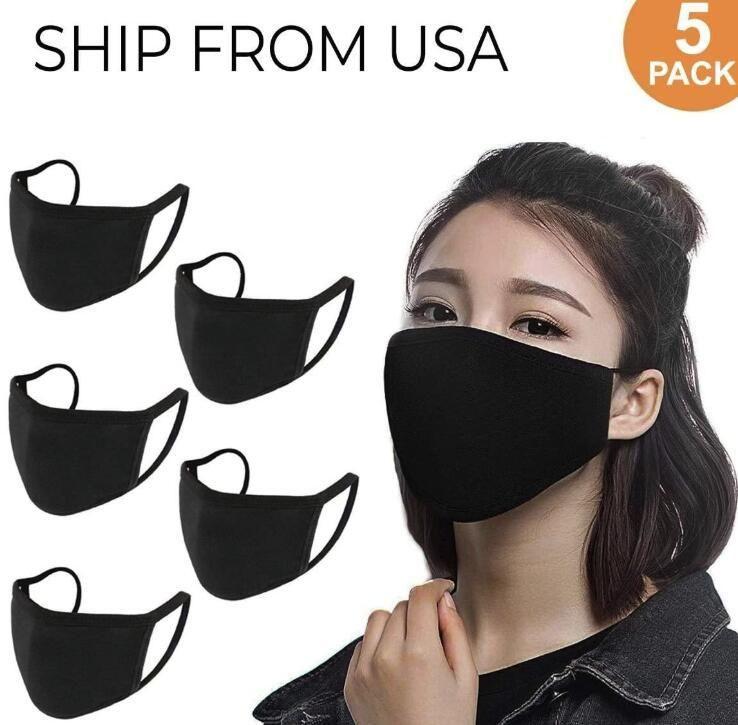 US STOCK Designer réglable Masque anti-poussière visage coton noir pour le cyclisme Camping Voyage, 100% coton lavable Masques réutilisables en tissu